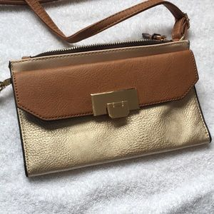 Gold purse with strap